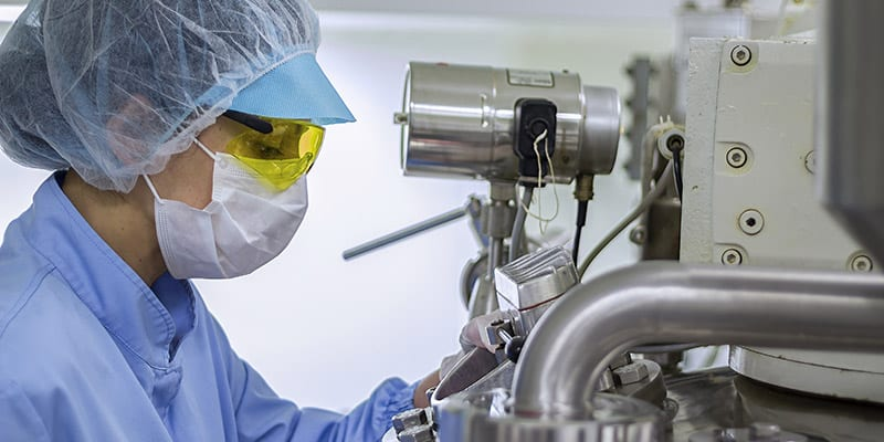 Pharmaceutical Factory Worker in Sterile Environment
